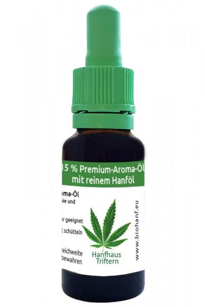 15 % Premium-Aroma-Öl mit reinem Hanföl in der 20 ml Tropfflasche