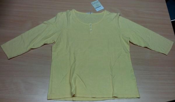 T-Shirt Damen Hanf ¾ Arm, Knopfleiste, Farbe Golden Haze, Größe XL